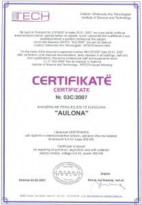 Certificate 03C